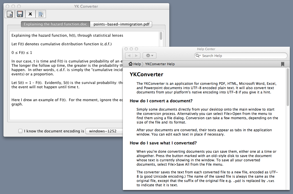 Screenshot of YKConverter with help open, on a Mac